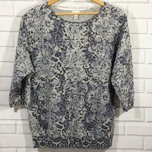Chico's Floral Animal Print Grey Blue Sweater